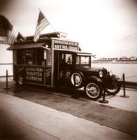 """Nuts to You"" truck on Chicago's Navy Pier - Holga photograph with sepia tint by Crystal Nederman"
