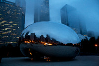 Photograph of Cloud Gate on a foggy evening, reflecting the Chicago Skyline by Crystal Nederman
