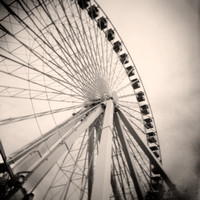 Sepia tone photograph of the Ferris Wheel on the Navy Pier taken with a Holga Camera by Crystal Nederman
