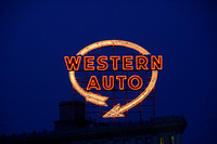 Western Auto Sign at Night