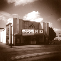 Sepia photograph of the Rio Theater in Overland Park, Kansas.  Taken with a holga camera by Crystal Nederman
