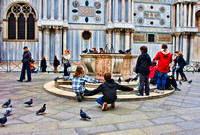 Photograph of children and pigeons near St. Marks square in Venice, Italy by Crystal Nederman