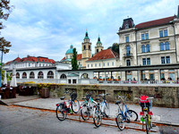Bike parking only on this street along the Ljubljana River.  Photograph by Crystal Nederman