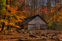 Color photograph of a cabin in the woods of the Smoky Mountain National Park by Crystal Nederman