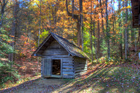 Bud Ogle Corn Crib Outbuilding in the Fall