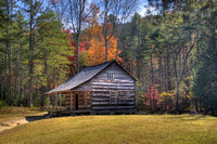 Color photograph of the Carter-Shields cabin in the Smoky Mountains by Crystal Nederman