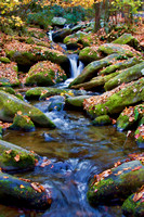 Waterfalls and mossy rocks fill this photograph with motion and color by Crystal Nederman