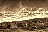 A sepia print of the Chevy in HDR by Crystal Nederman.