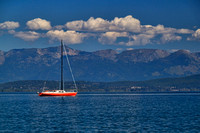 A red sailboat on Flathead Lake in Montana by Crystal Nederman
