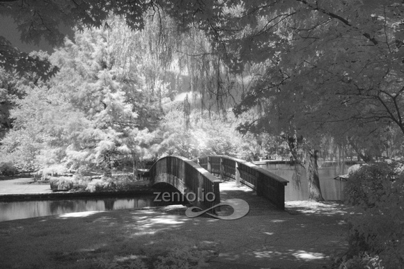 Black and white infrared photograph of the Loose Park Bridge in Kansas City, MO