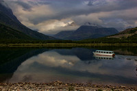 Photograph of the tour boat on Swiftcurrent Lake by Crystal Nederman